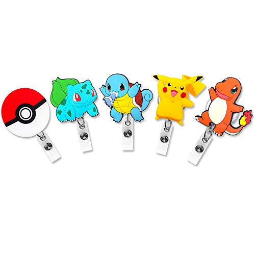 Finex 5 Pcs Set Pikachu Poke Ball Badge ID Clip Reel Retractable Holder Office Work Nurse Name Badge Tag Clip On Card Holders Cute - 30 inch Cord Extension