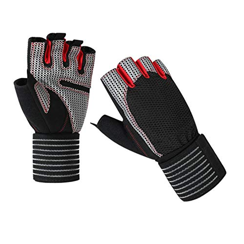 YOYIK Cycling Gloves Fingerless Mountain Bike Gloves Half Finger Gloves XL Silicone Microfiber Wear-Resistant and Breathable Half-Finger Gloves for Men & Women for Gym Fitness Outdoor Sports