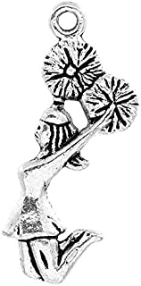 Cheerleading - Cheer and School Spirit Silver Tone Charms (50 Pc Cheerleader)