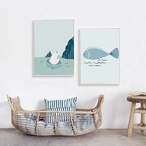 IGNIUBI Nordic Eenvoudige Kawaii Kleine Poolberen en Vis Canvas Schilderij Kunst Poster Foto Home Wall Decor Muurschildering-50x70cmx2pcs geen frame