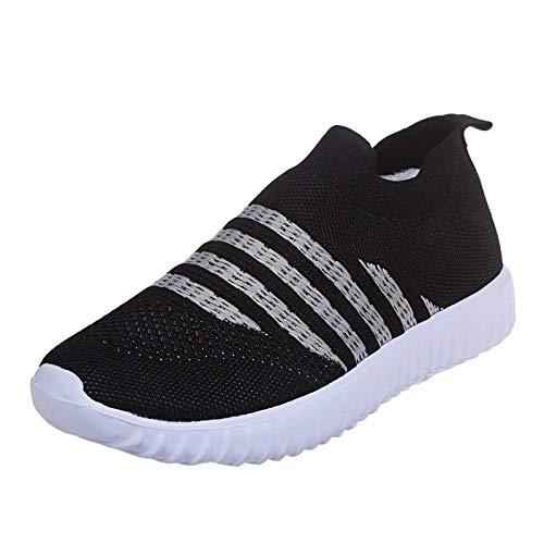 Xmiral Mesh Atmungsaktiv Sneakers Damen Einfarbige Schnür-Laufsportschuhe Joggingschuhe (S-Schwarz, Numeric_37)