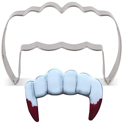 LILIAO Vampire Teeth Cookie Cutter for Halloween - 3.3 x 2.2 inches - Stainless Steel