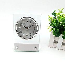 MUMUWIND Glass Table Clock Ultra-Quiet Metal Small Alarm Clock, Classic Retro Style Quartz Clock, Desk Cupboard Bedside Travel Alarm Clock Glasses and Metal (Silver)