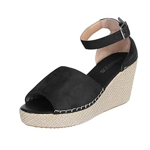 Cuidado Chaussures à Semelles CompenséEs Sandale Femme Talon Compensé Sexy Mules Femme Compensees Confort Décontractée Poisson Bouche Pantoufles