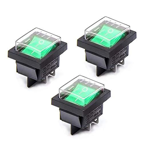 Her Kindness 3pcs Interruptor Basculante 4 Pin Luz Verde On/Off DPDT 16A 250V 20A125V AC con Funda Impermeable