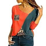 Camiseta Mujer Manga Larga Empalme Leopardo Cómoda Blusa Suave Mujer Sexy con Cuello En V Elegante Camisa Mujer IR A Trabajar Deporte Casual All-Match Mujer Tops A-Red XL