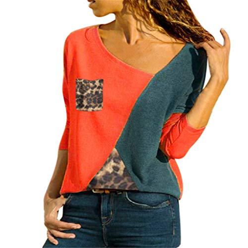 Camiseta Mujer Regular Fit Manga Larga/Manga Corta Empalme Cuello En V Tops Mujer Moda Cómodo Suave Casual Tops Mujer Elegante Blusa Chic Mujer A-Red 3XL
