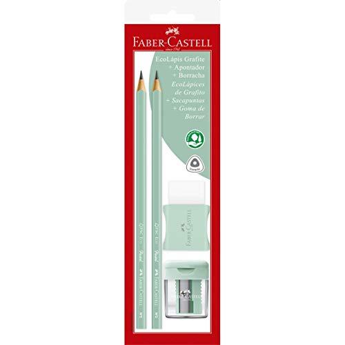 Kit Escolar Lápis Grafite + Apontador + Borracha, Faber-Castell, Max Tons Pastels, SM/1205PASTELAPV, Verde
