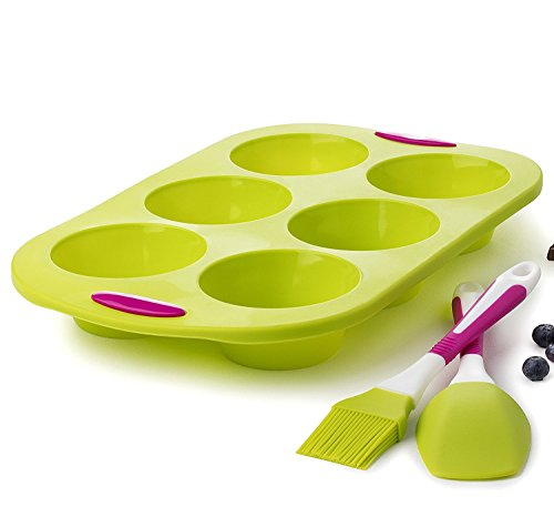Muffinform silikon muffins backformen silikonform groß set kuchenform 6 Tasse Jumbo - mit Spachtel und Pinsel