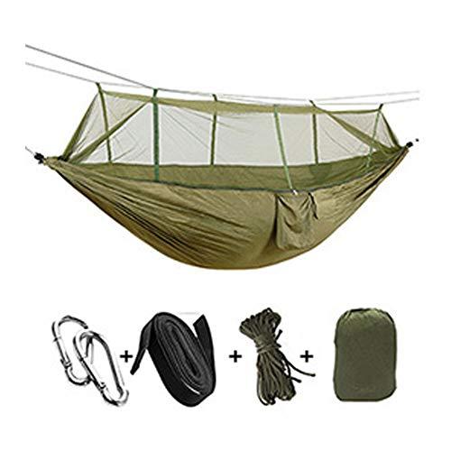 hamac CDFSG Hamac De Camping Extérieur Portable, Tissu De Parachute De Haute Résistance avec La Moustiquaire, Lit Suspendu, Chasse, Sommeil, Oscillation 260x140cm 1
