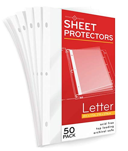 50-Pack Standard Weight Clear Sheet Protectors by Office Square