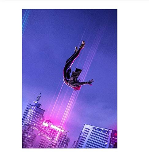LGXINGLIyidian Marvel Comics Superhero Spiderman Poster Spider-Man En The Spider-Verse Movie Poster Print Wall Art para Decoración De La Habitación De Los Niños B199 40X50Cm