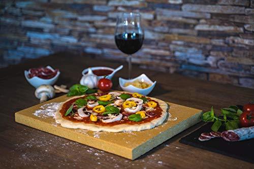 Piedra para pizza rectangular para horno y barbacoa, 40 x 30 x 3 cm, hecha de chamota maciza, apta para alimentos, se puede utilizar como piedra de pan y placa de pizza