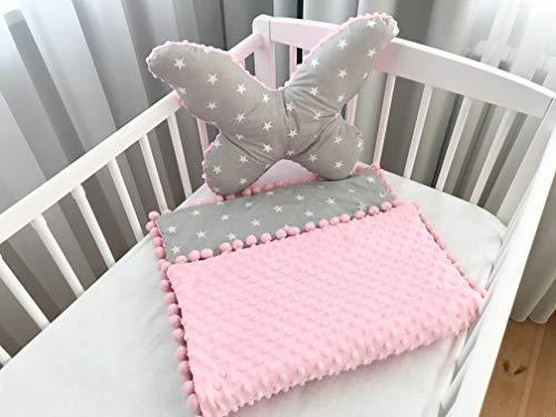 Babydecke Kuscheldecke Krabbeldecke 100% Baumwolle und Plüsch Minky (50x75cm) + Großer Kissen Schmetterling