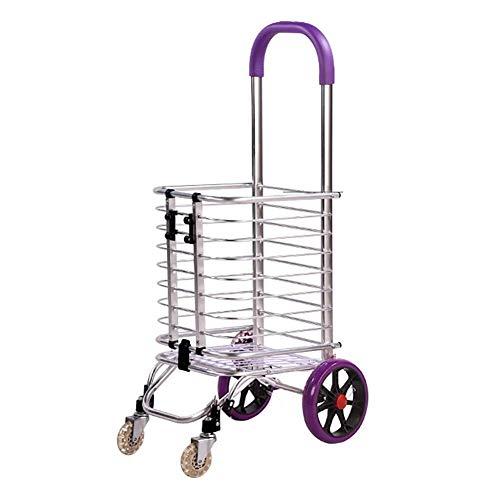 Shopping cart Oude Aluminium handkar Folding Portable Trolley 4 Ronde Huis Climbing Stair Trolley Lichtgewicht winkelwagentje (Color : A)
