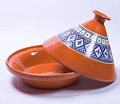 Kamsah Hand Made and Hand Painted Tagine Pot | Moroccan Ceramic Pots For Cooking and Stew Casserole Slow Cooker (Medium, Bohemian Blue)