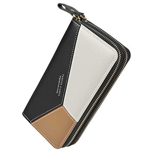 PGXT Women's Wallet, Card Holder Purse Zipper Elegant Clutch Wallet Coin Purse (Pink) (Black)