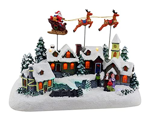 Animated Santa & Reindeer Sleigh Christmas Village Pre-lit Musical Christmas Village Perfect Addition to Your Christmas Indoor Decorations & Holiday Displays
