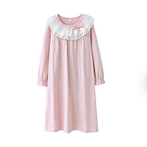 (マソンナーニ)Masonanic 子供 ネグリジェ 綿100% レース ナイトドレス 半袖 女の子 パジャマ ガールズ ワンピースパジャマ ルームウェア ナイトウェア (150cm, 長袖ピンク)