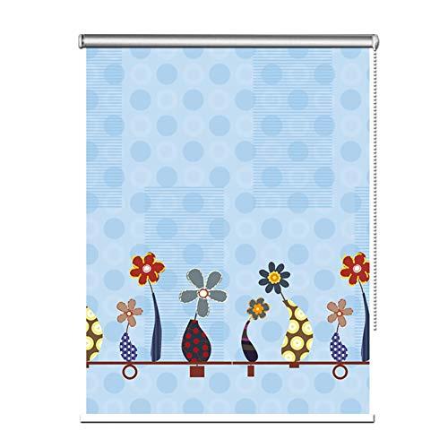 Seitenzug- & Springrollos Bambusvorhang Blau Blumen Rollo, 100{28a8a322bbd1b162f425cd7286359c1281ea94d5318ab33c9f6750092b58b07c} Blackout Wasserdicht Stoff mit Fitting, 80cm/90cm/100cm/120cm/130cm/140cm Breit Jalousie (Color : W×H, Size : 80×180cm)