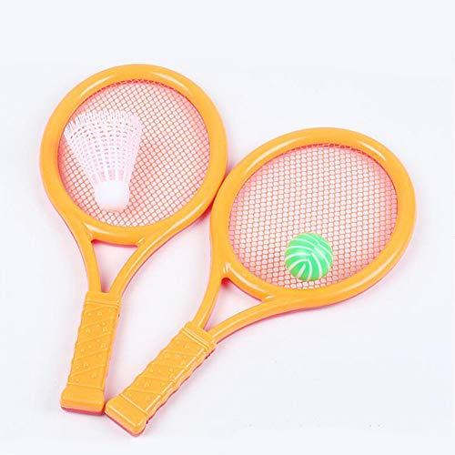 LMSDALAO Raqueta de Tenis Juego de Raquetas de Tenis Educativo de plástico Foto Prop Juego de Padres e Hijos Juguete Deportivo portátil Bádminton Regalo para niños Ejercicio Color Aleatorio