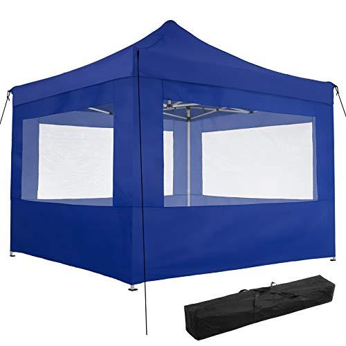 TecTake 800686 Carpa de Jardín 3 x 3m, Plegable, Aluminio, 100% Impermeable, 4 Paneles Laterales, con Cuerdas Tensoras, Piquetas y Bolsa (Azul | no. 403155)