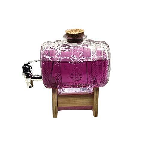 DDONVG Distributeur d'eau avec robinet, fût de bière, rhum, jus, cocktails, boissons, haute capacité 1000 ml avec base en bois, transparent