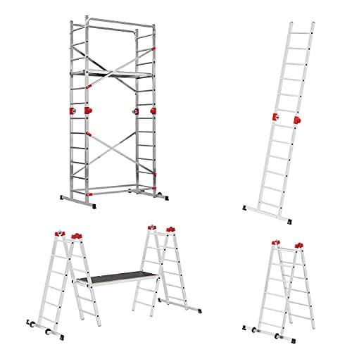 Hailo G60 Alu Multifunktionsgerüst | 2 x 12 Sprossen belastbar bis 150 kg/m2 | Plattform mit Durchstiegsluke | fahrbares Alu Gerüst | verwendbar als Anlegeleiter, Doppelleiter, Baugerüst | Silber