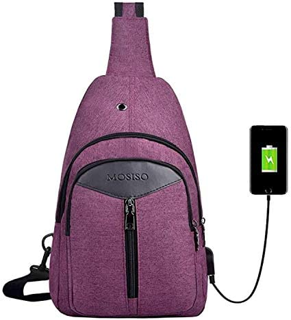 MOSISO Rope Sling Bag Hiking Daypack Unbalance Backpack with USB Charging Port Purple product image