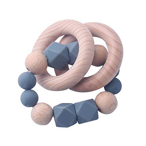 RENZHEN Holz Baby Beißring Armband Silikon Perlen Beißring Spielen Kauen Spielzeug Silikon Beißringe für Babys Gefrierschrank,1