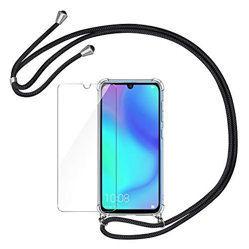 AROYI Handykette Handyhülle & Panzerglas Schutzfolie kompatibel mit Huawei P30 Lite Hülle mit Kordel zum Umhängen Necklace Hülle mit Band Transparent Hülle Schwarz Silber