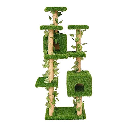 FTFTO Household Products Tall Cat Tree Entertainment Playground Woven Rattan Cat Tree Lawn Villa Multi Layer Cat Jumping Platform Double Cat House Size:51 * 62 * 168cm (Size : 51 * 62 * 168cm)