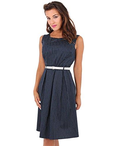 KRISP Damen 50er Jahre Vintage Kleid (Marineblau, Gr.38) (7045-NVY-10)