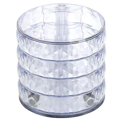 QIRG Caja organizadora de Joyas, Caja de Almacenamiento de Joyas Sencillo y Moderno Rotación de 360 ° Tamaño pequeño Cuatro Niveles para Guardar Anillos Pendientes, Pulsera(Transparencia)