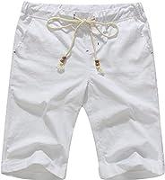 Boisouey Men's Linen Casual Classic Fit Short Summer Beach Shorts
