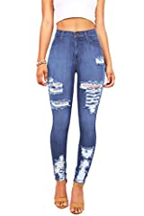 High rise skinny jeans with heavy distressing on the thighs and down at the ankles. Pockets at the front and at the back with traditional zip fly and button closure. Stretchy denim with a skin-tight fit. Machine Wash Cold