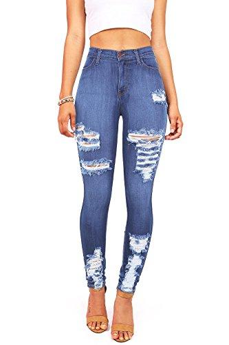 Vibrant Women's Juniors High Waist Stretchy Ripped Jeans (9, Denim)