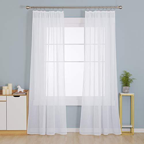 Deconovo Gardinen mit Kräuselband Transparente Vorhänge für Schienensystem Stores Schal Wohnzimmer Leinenoptik Weiß 245x140 cm 2er Set
