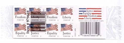 USPS Forever Stamps Four Flags Stamps - 5 x Books of 20 (100 Stamps Total) by USPS