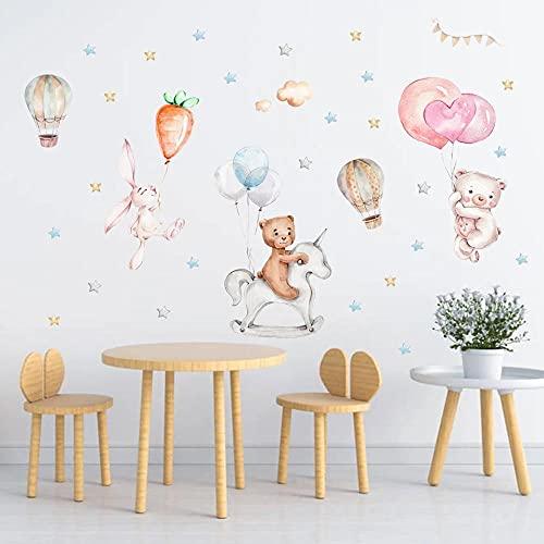 Pegatinas De Pared Con Globos De Animales De Dibujos Animados Para Habitación De Niños Decoración De Dormitorio Lindo Conejo Oso Papel Tapiz Mural Vinilo Pared Decorativa