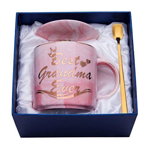 Luspan Grandma Mug - Pink Marble Ceramic Coffee Cup 11.5oz and Lid