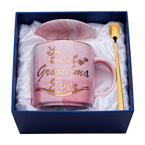Luspan Grandma Mug - Pink Marble Ceramic Coffee Cup 11.5oz and Lid