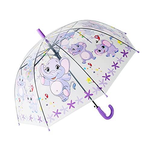 yui Paraguas tipo campana Apolo paraguas automático recto creativo dibujos animados lindo paraguas para niños luz transparente animal insectos playa paraguas (color: púrpura)