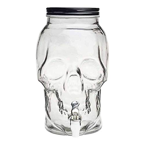 Tarro con Grifo calavera,Bote dispensador, Dispensador de bebida, Botella con grifo, Garrafa vidrio, Jarra cristal 4Litro 27 c 20 cm
