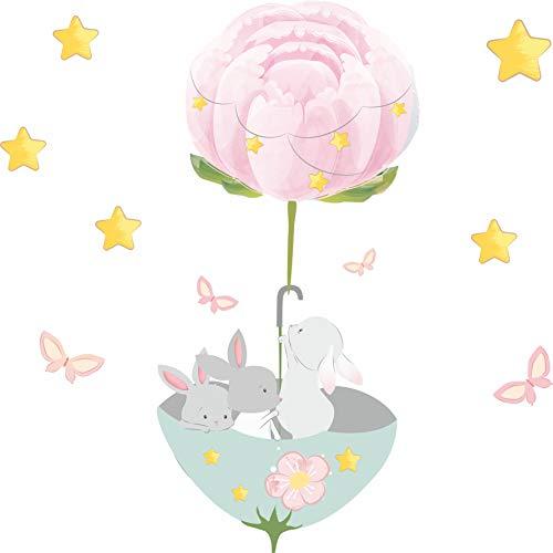 greenluup Kaninchen Hase Ballons Wolken Wandtattoo Babyzimmer Wandsticker Wandaufkleber Aufkleber Deko für Kinderzimmer Baby Kinder Kinderzimmer Mädchen