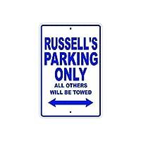 ヴィンテージ複製サイン、ラッセルズ駐車場のみ、壁サイン金属プラークポスター鉄絵警告サインアート装飾用バーホテルオフィスカフェテリア