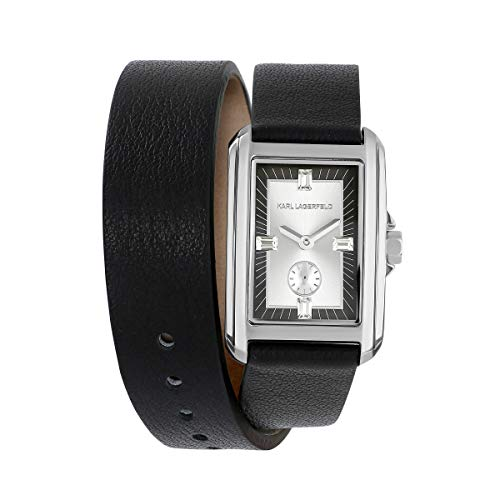 KARL LAGERFELD Women's S/S Double Wrap Black Leather Strap Damenuhr, 20mmx31mm, 5552744