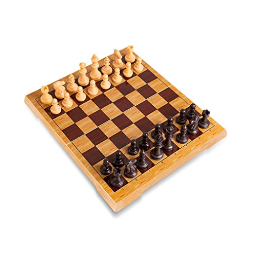 FEANG Juego de Ajedrez Juego de ajedrez Internacional con ajedrez Plegable Plegable portátil de ajedrez plástico para Principiantes Ajedrez y Damas (Color : Yellow 19cm)