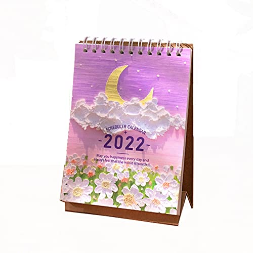 Hsjx 2022 Calendar Desktop Calendar 10.4 * 6.3 * 15.4Cm,Standing Flip Calendar Jan 2022 to Dec 2022,Desktop Standing Flip Calendar Stand Up Calendar(Color:F)