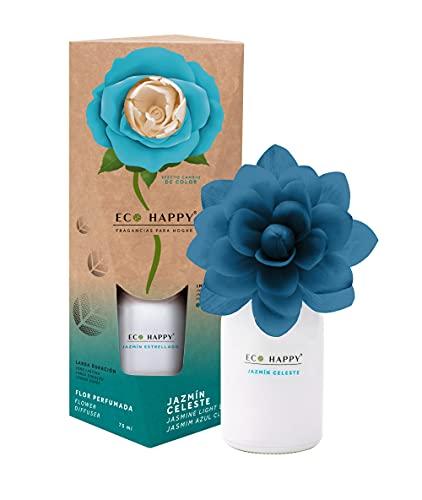 ECO HAPPY - Ambientador de Flor Perfumada Que Cambia de Color. Fragancias Frescas y de Larga duración. 75 ml. (Jazmín Celeste)